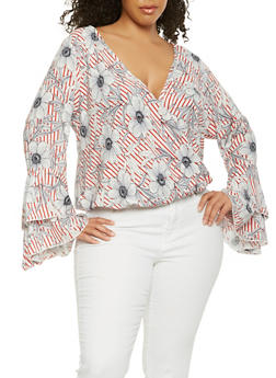 Plus Size Printed Faux Wrap Top - RED - 3803074012519