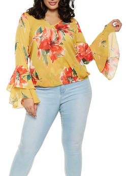Plus Size Printed Faux Wrap Top - MUSTARD - 3803074012519