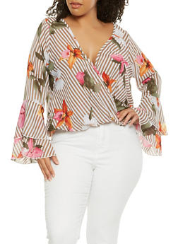 Plus Size Printed Faux Wrap Top - MOCHA - 3803074012519