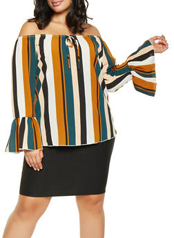 Plus Size Striped Off the Shoulder Top - 3803074015228