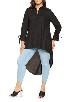 Plus Size High Low Button Front Shirt - 3803074015351