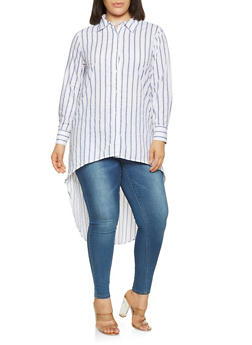 Plus Size Striped High Low Shirt - 3803074015352