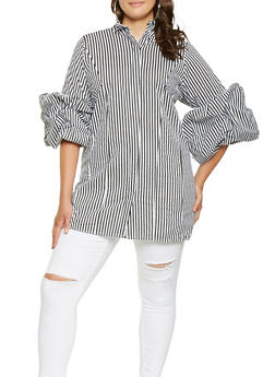 Plus Size Striped Tunic Top - 3803074015353