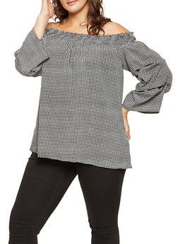 Plus Size Gingham Off the Shoulder Top - 3803074015354