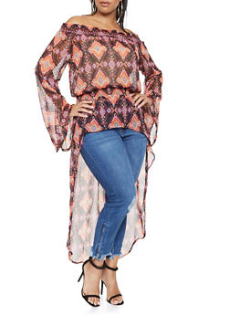Plus Size Printed Off the Shoulder Top - 3803074015356