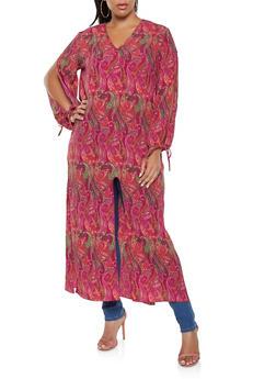 Plus Size Printed Split Sleeve Maxi Top - 3803074015358