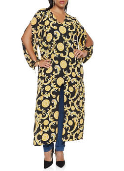 Plus Size Printed Split Sleeve Maxi Top - 3803074015358