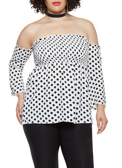 Plus Size Printed Smocked Off the Shoulder Top - 3803074015405