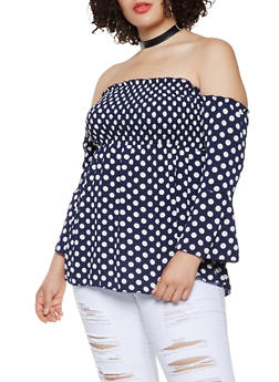 Plus Size Printed Smocked Off the Shoulder Top - NAVY - 3803074015405