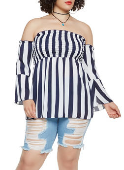 Plus Size Printed Smocked Off the Shoulder Top - WHITE/BLUE - 3803074015405