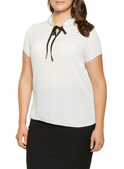 Plus Size Ruffled Tie Front Blouse - 3803074015407