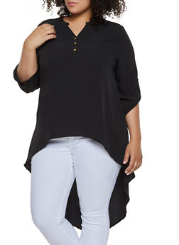 Plus Size High Low Half Button Top - 3803074015680