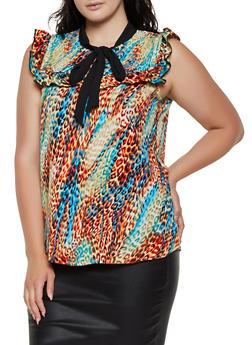 Plus Size Sleeveless Printed Tie Neck Blouse - 3803074015694