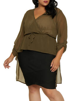 Plus Size Faux Wrap High Low Blouse - 3803074015752