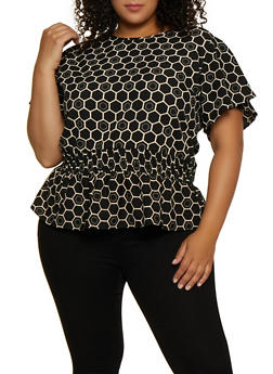 82a30b883a82 Plus Size Geometric Print Smocked Waist Top - 3803074015753