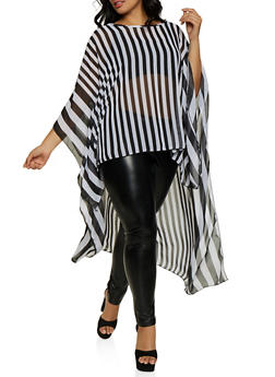 Plus Size Striped High Low Top - 3803074015814