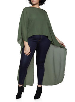 Plus Size Split Back High Low Blouse - 3803074015846