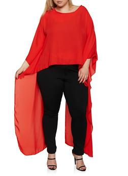 Plus Size Split Back High Low Blouse - 3803074015846