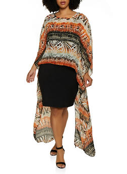 Plus Size Printed Split Back High Low Blouse - 3803074015847