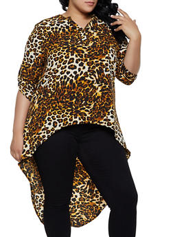 Plus Size Half Button Printed High Low Top - 3803074016579
