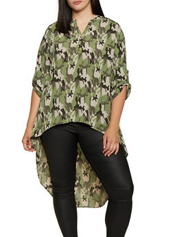Plus Size Half Button Printed High Low Top - OLIVE - 3803074016579