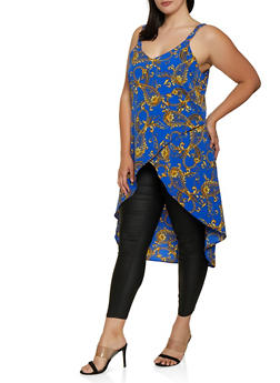Plus Size Printed High Low Top - 3803074016981