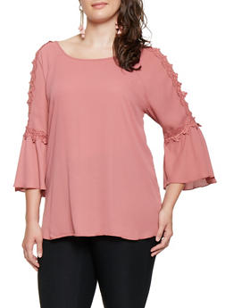 Plus Size Crochet Trim Split Sleeve Top - 3803074090426