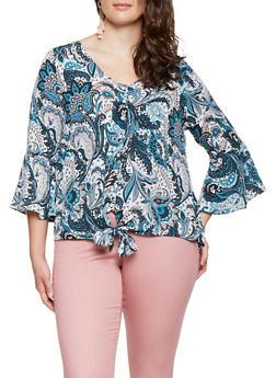 Plus Size Paisley Tie Front Shirt - 3803074091092
