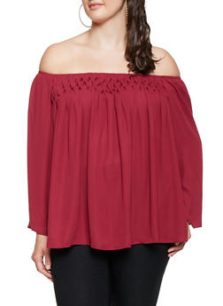 Plus Size Ruched Off the Shoulder Top - 3803074091098