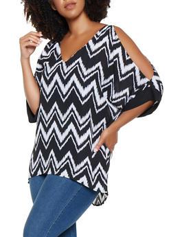 Plus Size Printed Split Sleeve Top - 3803074091272