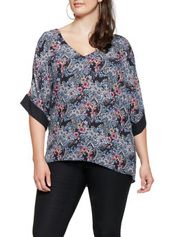 Plus Size Printed Split Sleeve Top - 3803074092272