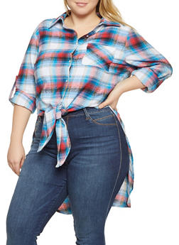 Plus Size Flannel High Low Shirt - 3803074180023