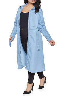 Plus Size Belted Chambray Duster - 3803074180039