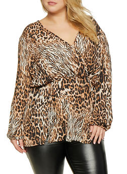 Plus Size Leopard Print Faux Wrap Top - 3803074280145