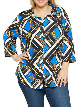 Plus Size Printed Button Front Shirt - 3803074280149