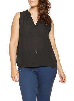 Plus Size Sleeveless Blouse - 3803074280202