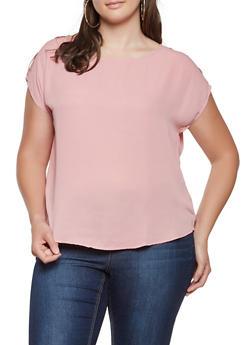 Plus Size Shoulder Button Detail Top - 3803074280203