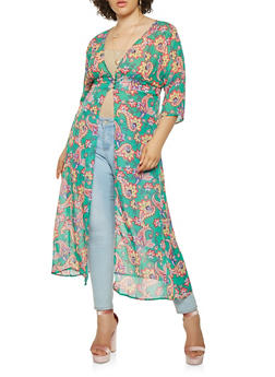 Plus Size Printed 3 Button Maxi Top - 3803074280353