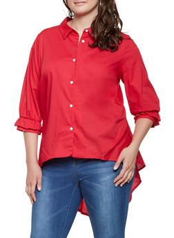 Plus Size High Low Button Front Shirt - 3803074280377