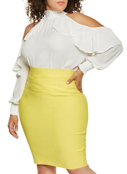 Plus Size Ruffle Cold Shoulder Blouse - 3803074280479