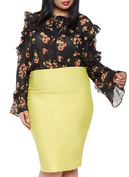 Plus Size Floral Cold Shoulder Blouse - 3803074280511