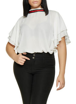 Plus Size Striped Tape Trim Blouse - 3803074281106