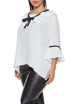 Plus Size Ribbon Trim Blouse - 3803074281200