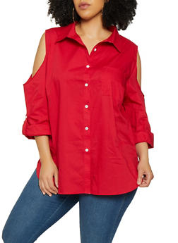 Plus Size Button Front Red Blouse