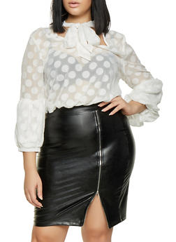 Plus Size Polka Dot Tie Neck Top - 3803074281603