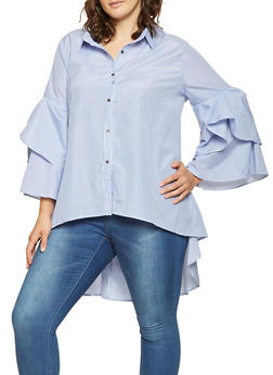 Plus Size Striped High Low Button Front Shirt - 3803074281606