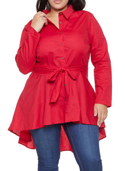 Plus Size Belted High Low Shirt - 3803074281607