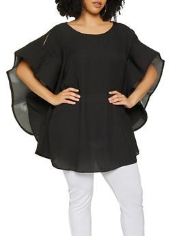 Plus Size Mega Ruffle Sleeve Top - 3803074281641