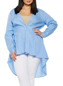Plus Size High Low Shirt - 3803074282300