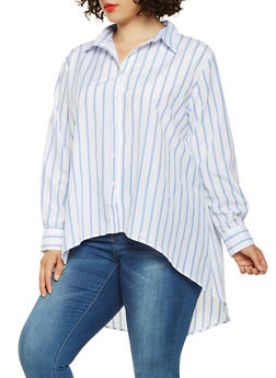 Plus Size Striped Button Front High Low Top - 3803074282302